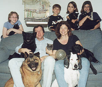 Just the seventeen of us sixteen years ago. Ebony is the cat in Meredith's arms, top-left.